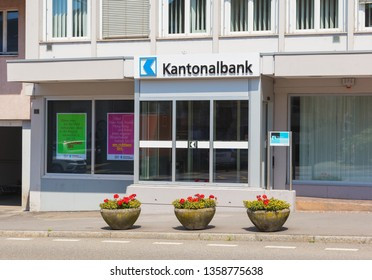 Bremgarten, Switzerland - June 16, 2018: an office of the Aargauische Kantonalbank in the town of Bremgarten. Aargauische Kantonalbank is the cantonal bank of the Swiss canton of Aargau.