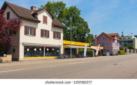 Bremgarten, Switzerland - June 16, 2018: buildings of the town of Bremgarten along Zurcherstrasse street. Bremgarten is a municipality in the Swiss canton of Aargau, known for its medieval old town.