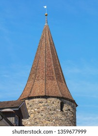 Bremgarten, Switzerland - June 16, 2018: upper part of a medieval tower in the historic part of the town of Bremgarten. Bremgarten is a municipality in the Swiss canton of Aargau.