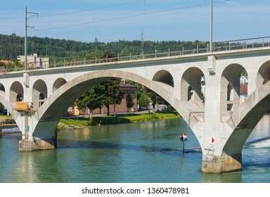 Bremgarten, Switzerland - June 16, 2018: bridge over the Reuss river in the town of Bremgarten. Bremgarten is a municipality in the Swiss canton of Aargau, known for its medieval old town.