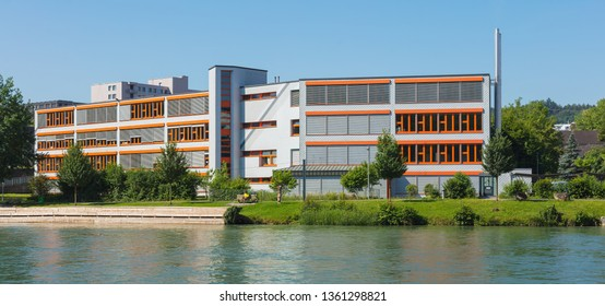 Bremgarten, Switzerland - June 16, 2018: buildings of the town of Bremgarten along the Reuss river. Bremgarten is a municipality in the Swiss canton of Aargau, known for its medieval old town.