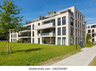 Bremgarten, Switzerland - June 16, 2018: new residential buildings along Augraben street in Bremgarten. Bremgarten is a municipality in the Swiss canton of Aargau, known for its medieval old town.