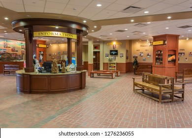 Brenham, Texas, United States of America - December 27, 2016. Interior view of the welcome center at Blue Bell Creameries factory in Brenham, TX.
