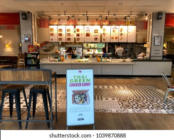 BRENT CROSS, LONDON - MARCH 6, 2018: Leon, a fast food restaurant chain, at Brent Cross Shopping Centre in Barnet, North London, England, UK.