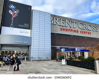 BRENT CROSS, LONDON - MARCH 6, 2018: Exterior of Brent Cross Shopping Centre in Barnet, North London, England, UK.