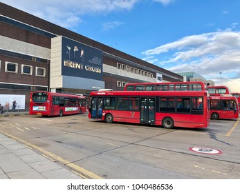 BRENT CROSS, LONDON - MARCH 6, 2018: Public bus station outside Brent Cross Shopping Centre in Barnet, North London, England, UK.