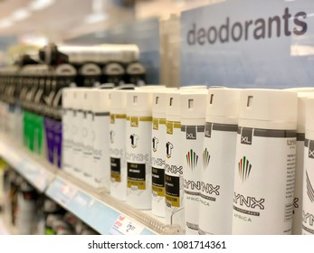 BRENT CROSS, LONDON - MAY 2, 2018: Deodorants on sale in Boots at Brent Cross Shopping Centre in North London, UK.