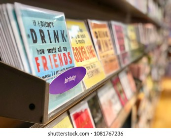 BRENT CROSS, LONDON - MAY 2, 2018: Greeting cards for sale in a store at Brent Cross Shopping Centre in North London, UK.