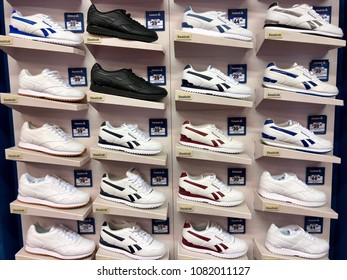 BRENT CROSS, LONDON - MAY 2, 2018: Reebok Trainers on sale at Sports Direct in Brent Cross, North London, UK.
