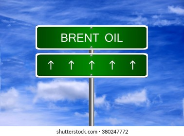 Brent oil price investment trading arrow going up rising strong industry bull market concept.