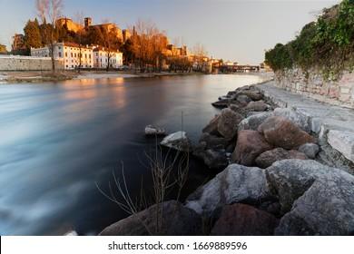 Brenta river by Bassano Del Grappa Italy