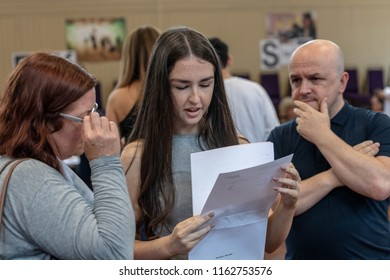 BRENTWOOD ESSEX UK AUGUST 23RD 2018 Students receive GCSE results   at Becket Keys Church of England School, an identified student