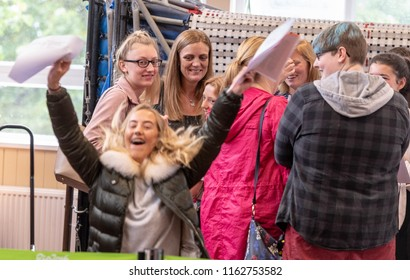 BRENTWOOD ESSEX UK AUGUST 23RD 2018 Students receive GCSE results   at Becket Keys Church of England School An estatic Layla-May Watson celebrters her resutls credit Ian Davidso/Alamy Live News