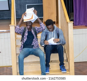 BRENTWOOD ESSEX UK AUGUST 23RD 2018 Students receive GCSE results   at Becket Keys Church of England School Idunu Samuels and Olumgiua Are celebrate their resutls