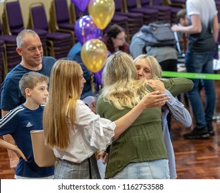 BRENTWOOD ESSEX UK AUGUST 23RD 2018 Students receive GCSE results   at Becket Keys Church of England School
