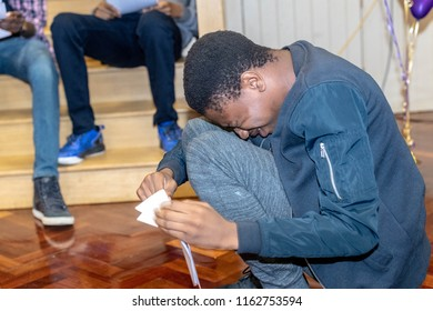 BRENTWOOD ESSEX UK AUGUST 23RD 2018 Students receive GCSE results   at Becket Keys Church of England School Agominde Okeowo is overcome with his succesful GCSE resutls