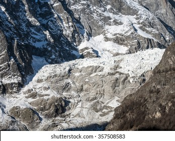 Brenva Glacier closeup in Mont Blanc massif. Mont Blanc is the highest peak of european Western Alps.