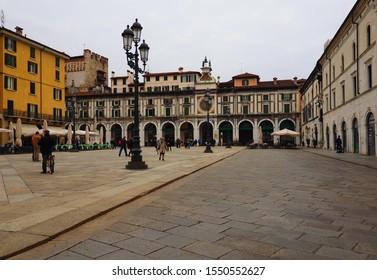 BRESCIA, 1 November 2019: Cityscape on historic square of Brescia. Piazza della Loggia, Brescia, Lombardy, Italy.