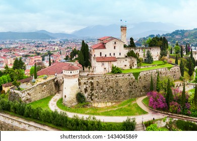 Brescia Castle aerial panoramic view. Castle of Brescia is a medieval castle locate atop Cidneo Hill in Brescia city in north Italy.