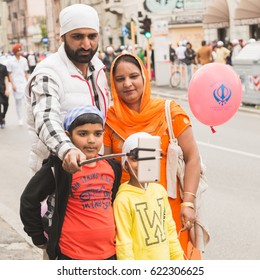 BRESCIA, ITALY - APRIL 15, 2017: More than ten thousand Sikhs take part in the annual Vaisakhi parade to celebrate the first harvesting of the year and the creation of Khalsa
