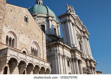 Brescia, Italy - August 22, 2020 : View of Duomo Nuovo