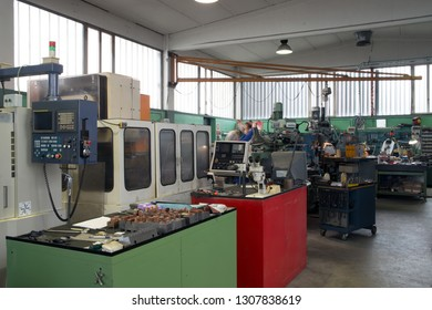 BRESCIA, ITALY - December 12, 2018 - Italian company specialized in construction of high precision molds for polymers molding (driver moulds, multi-cavity) - Machine tools CNC.