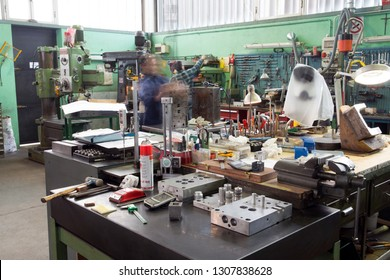 BRESCIA, ITALY - December 12, 2018 - Italian company specialized in construction of high precision molds for polymers molding (driver moulds, multi-cavity) - Workshop, manufacturing molds