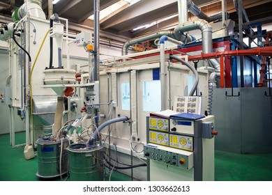 BRESCIA, ITALY - January 12, 2017 - Italian company specialized in design, development and supply of global solutions and integrated systems to the off-highway vehicles market - Coating plant.