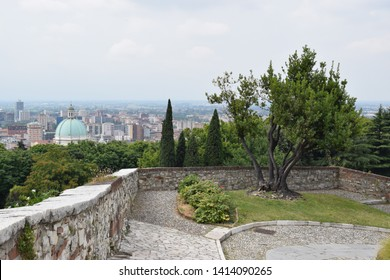 Brescia, Italy - July 12, 2018: View of Brescia from the Castello di Brescia.
