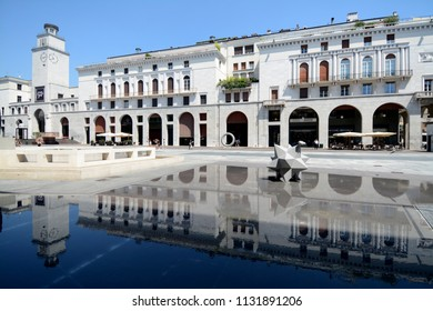 Brescia /Italy – July 18,2017: Brescia is a beautiful Lombard city where the  vittoria square is an example of rationalist architecture with the  Bigio fountain