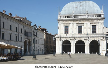Brescia /Italy – July 18,2017: Loggia is a Renaissance palace located in Loggia square in the center of Brescia.