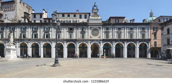 Brescia /Italy – July 18,2017: Loggia is a Renaissance palace located in Loggia square in the center of Brescia. It is located in front of the clock tower.