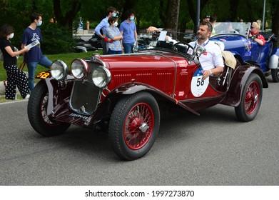 Brescia, Italy - jun 16 2021: 1000 miglia race, Fiat 514 MM