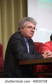 "BRESCIA, ITALY – JUNE 4 : Famous architect Mario Botta speaks at the conference ""The role of patronage in the development of the city"" on June 4, 2009 in Brescia, Italy."