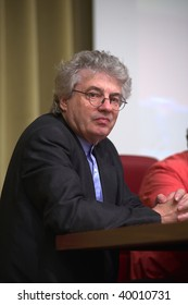 """BRESCIA, ITALY – JUNE 4 : Famous architect Mario Botta speaks at the conference """"The role of patronage in the development of the city"""" on June 4, 2009 in Brescia, Italy."""