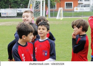 Brescia, Italy - May 01, 2017: Children playing in the demonstration for soccer schools