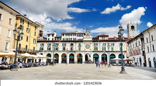 BRESCIA, ITALY - MAY 15, 2017: The panorama of Piazza della Loggia square at sunny day