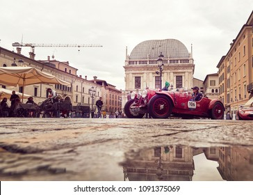 Brescia, ITALY - May 15, 2018: Starting day of the famous Mille Miglia classic car race in the city of Brescia