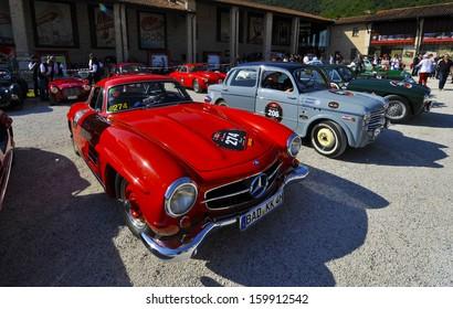 BRESCIA, ITALY - MAY 17: 1000 Miglia, vintage cars race in Brescia, May, 17 2012.