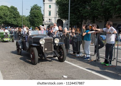 Brescia, Italy - May 19 2018: FIAT 514 S 1930 is an old racing car in rally Mille Miglia 2018, live shot at the famous italian historical race on May 19 2018 in Brescia Italy.