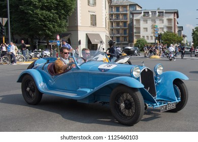 Brescia, Italy - May 19 2018: ALFA ROMEO 8C 2300 SPIDER TOURI NG 1931 is an old racing car in rally Mille Miglia 2018, live shot at the famous italian historical race  on May 19 2018 in Brescia Italy.