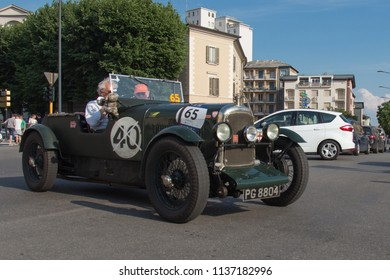 Brescia, Italy - May 19 2018: LAGONDA 2 LITRE BROOKLANDS 1929 is an old racing car in rally Mille Miglia 2018, live shot at the famous italian historical race on May 19 2018 in Brescia, Italy.