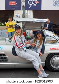 Brescia, Italy - May 2017: Mille Miglia 2017 edition, regularity race for historic cars that participated in the Mille Miglia competition from 1927 to 1957.