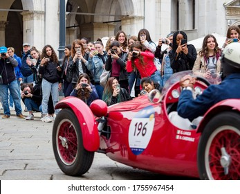 Brescia, Italy - May 2019: Mille Miglia 2019 edition, regularity race for historic cars that participated in the Mille Miglia competition from 1927 to 1957.