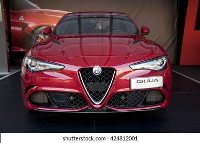 BRESCIA, ITALY - MAY 21, 2016: exhibition  alfa romeo giulia quadrifoglio 2.9 V6 Bi-turbo Benzina 510 CV RWD MT6