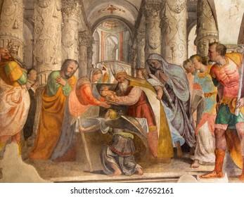 BRESCIA, ITALY - MAY 21, 2016: The fresco of Presentation of Jesus in the Temple by  Lattanzio Gambara ( 1530 - 1574) in church Chiesa del Santissimo Corpo di Cristo.