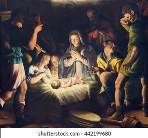 BRESCIA, ITALY - MAY 21, 2016: The painting of Nativity in church Chiesa del Santissimo Corpo di Cristo by Pier Maria Bagnadore (1550 - 1627).