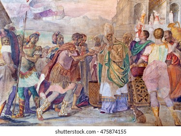 BRESCIA, ITALY - MAY 21, 2016: The fresco King David Receiving the Holy Bread from Ahimelech the Priest in church Chiesa del Santissimo Corpo di Cristo by Jesuit Benedetto da Marone (1550- 1565).