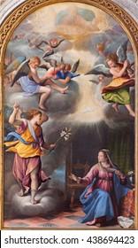 BRESCIA, ITALY - MAY 22, 2016: The Annunciation painting in church Chiesa di Santa Maria dei Miracoli by Pietro Maria Bagnatore (1548 - 1627)