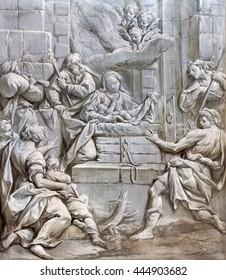 BRESCIA, ITALY - MAY 22, 2016: The monochromatic fresco of Nativity in church Chiesa di Santa Maria del Carmine (holy Innocents chapel) by Francesco Monti (1646 - 1723).